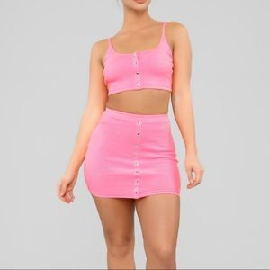 Fashion Nova Flirty Feels Skirt Set - Neon Pink